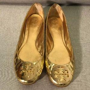 Tory Burch Gold Quilted Metallic Quinn Flats 7 1/2